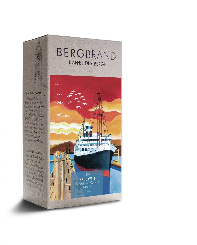 Etikett BERGBRAND Filterkaffee NEUE WELT